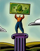 An illustration of a man lifting a bank note (thumbnail)