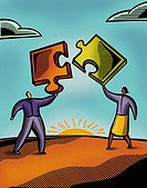 Two people putting puzzle pieces together