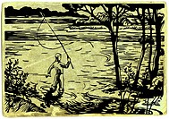 A man fishing in the lake with a fishing rod