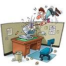 A businessman smashing his computer