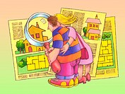 A couple shopping for houses using a magnifying glass to look at the house plans