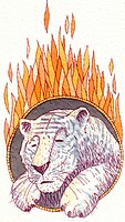 A white tiger jumping through a ring of fire