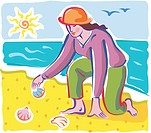 A woman collecting seashells on the beach