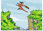 businesswoman jumping over a chasm