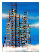 A businesswoman climbing the tallest ladder