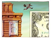 A businessman jumping from a building to a dollar sign