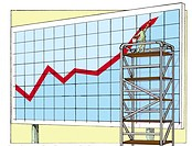 A businessman standing on a scaffolding to paint a huge sales chart