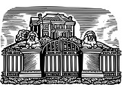 A picture of a mansion drawn in black and white (thumbnail)