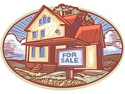 Oval shaped picture of a house with a for sale sign in front