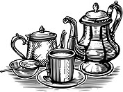 A black and white representation of a tea set
