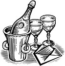 A bottle of champagne and glasses shown with a card drawn in black and white