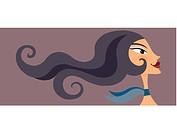 A woman with long flowing hair