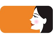 Profile of woman on orange background
