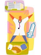 Doctor, hospital, needle and handshake
