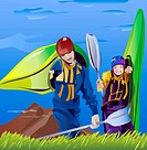 An illustration of two friends portaging their kayaks