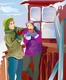 An illustration of a couple enjoying hot beverages at apres ski