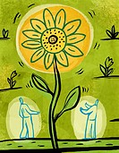 An illustration of two people admiring a large sunflower
