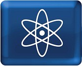 An atom with blue background