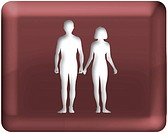 A man and woman holding hands on red background