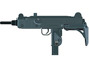 A picture of a compact uzi submachine gun