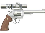 A picture of a .44 Magnum cartridge (silver model with scope)
