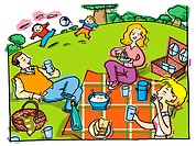 An illustration of a family picnic