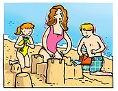 Two children building a sandcastle with their mother