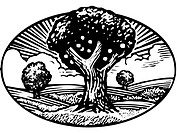 Oval shaped nature scene of apple tree in orchard, black and white (thumbnail)
