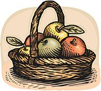 Drawing of a basket of apples