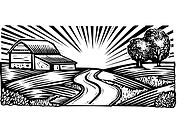 Rural scene with winding road and barn, black and white