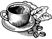 Black and white cartoon illustration of a cup of coffee and coffee beans