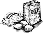 Flour, eggs, andcarton of milk, black and white