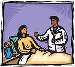 Doctor visiting a patient at her bedside