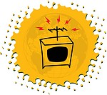 Drawing of a television on yellow background