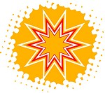 A 10 pointed star on yellow background