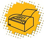 Drawing of a printer on yellow background
