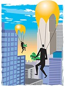 A businessmen parachuting with money in their hands