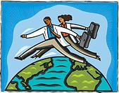 Two doctors leaping across the globe