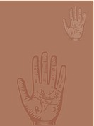 Palmistry hand on brown