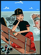 Skater sitting on a bench (thumbnail)