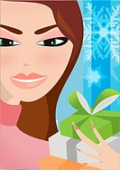 A woman holding wrapped gifts (thumbnail)