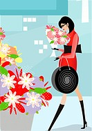 A pregnant woman buying flowers (thumbnail)