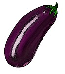 A picture of a shiny aubergine eggplant
