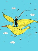 A person flying on a bird covered in words