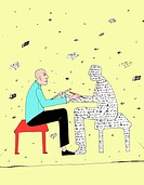 Man talking to a person made of words (thumbnail)