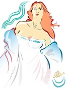 Illustration of a woman in nightgown
