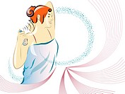 Illustration of a woman spraying perfume
