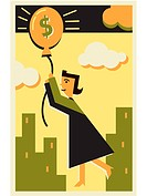 A money balloon lifting a woman into the air