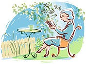 A woman reading in her garden
