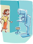 Woman approaching a mammography machine